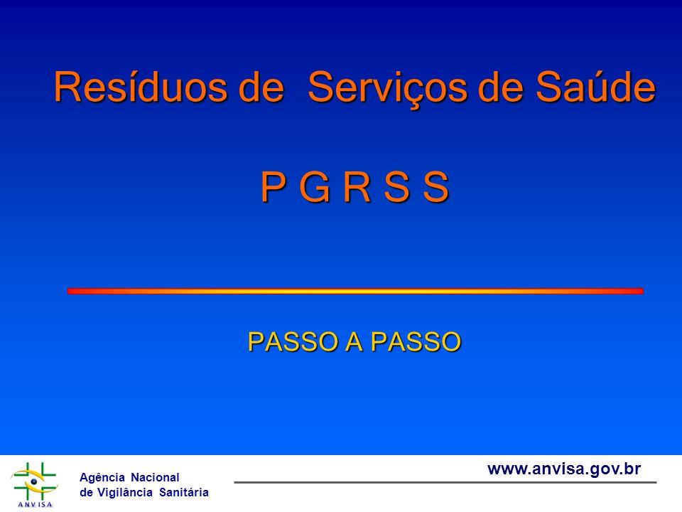 Resíduos de Serviços de Saúde P G R S S PASSO A PASSO