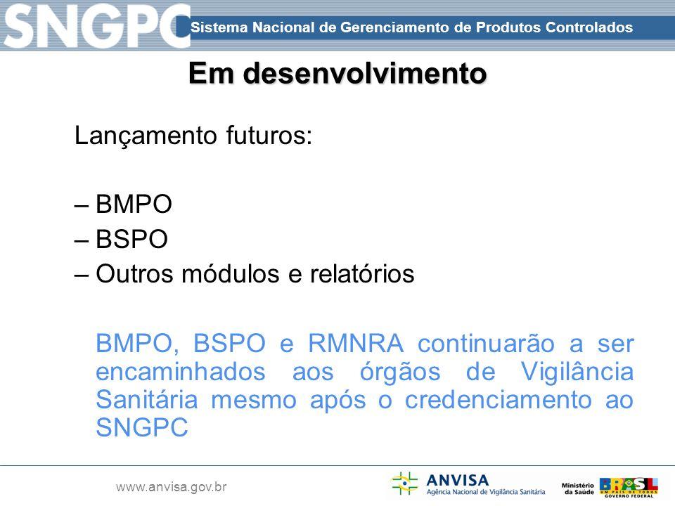 Em desenvolvimento Lançamento futuros: BMPO BSPO