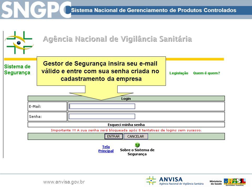 Gestor de Segurança insira seu e-mail