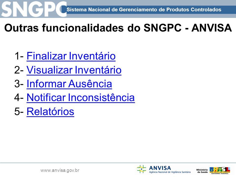 Outras funcionalidades do SNGPC - ANVISA