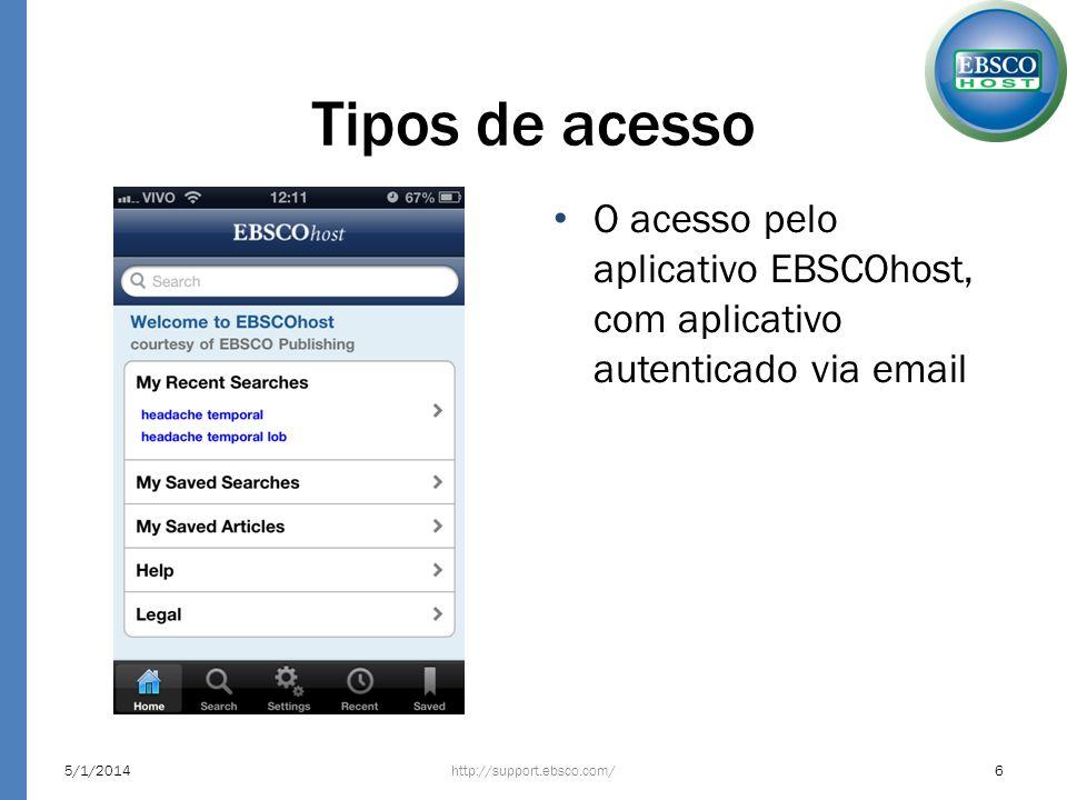 Tipos de acesso O acesso pelo aplicativo EBSCOhost, com aplicativo autenticado via email. 24/03/2017.