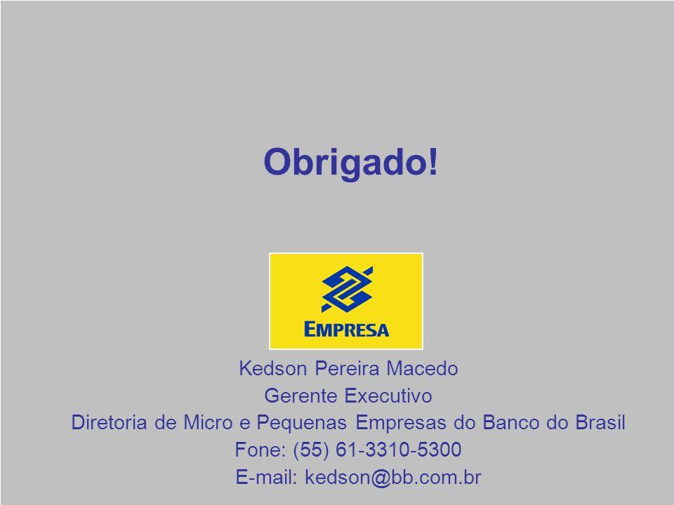 Obrigado! Kedson Pereira Macedo Gerente Executivo