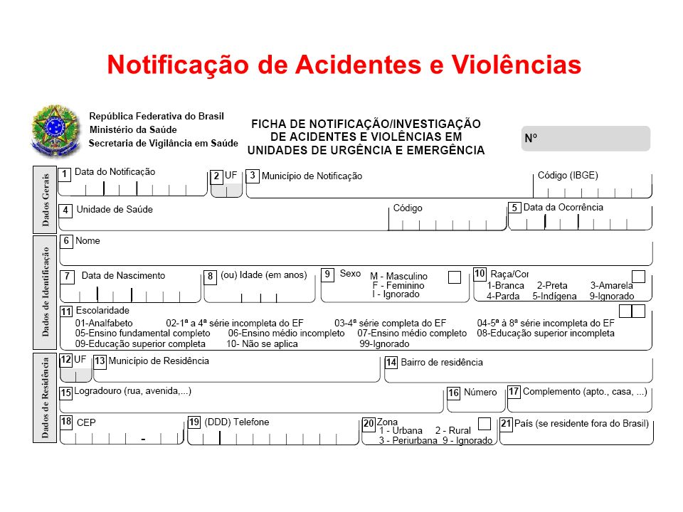 Notificação de Acidentes e Violências