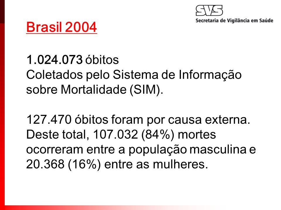 Brasil 2004 1.024.073 óbitos. Coletados pelo Sistema de Informação sobre Mortalidade (SIM). 127.470 óbitos foram por causa externa.