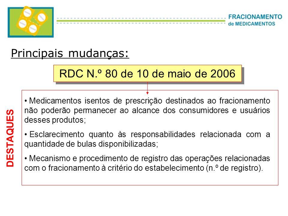 Principais mudanças: RDC N.º 80 de 10 de maio de 2006 DESTAQUES