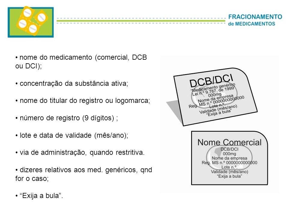 nome do medicamento (comercial, DCB ou DCI);