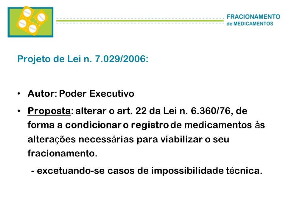 Projeto de Lei n. 7.029/2006:Autor: Poder Executivo.