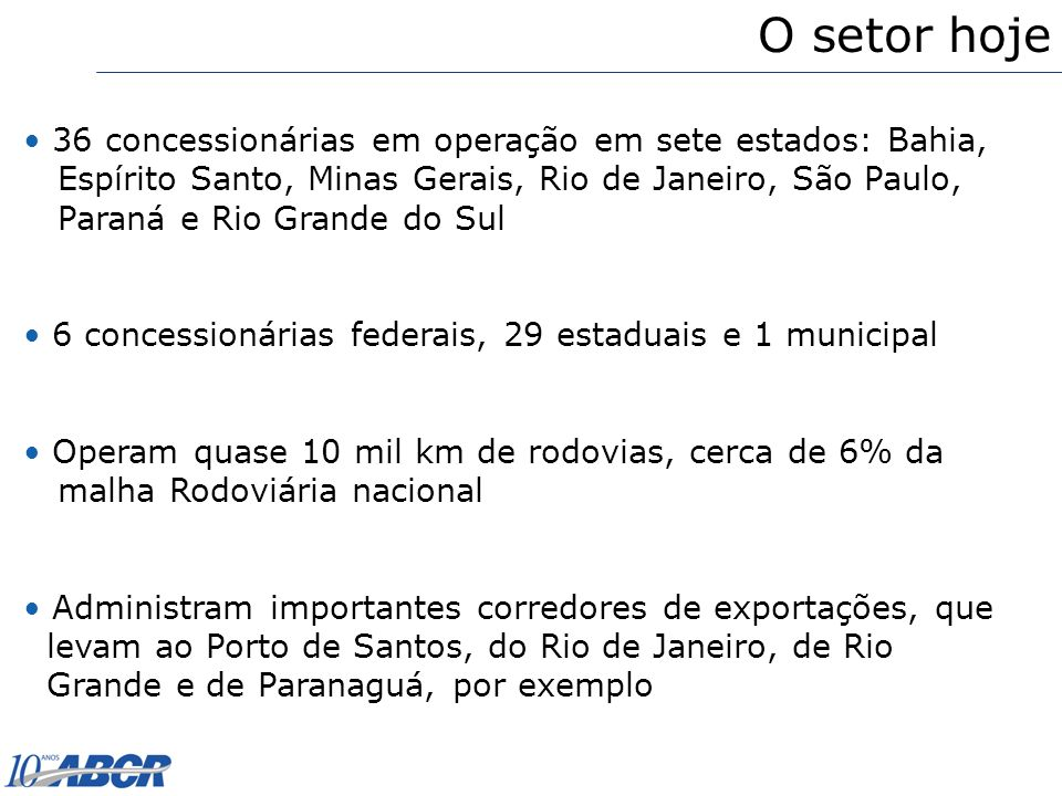 O setor hoje 36 concessionárias em operação em sete estados: Bahia,