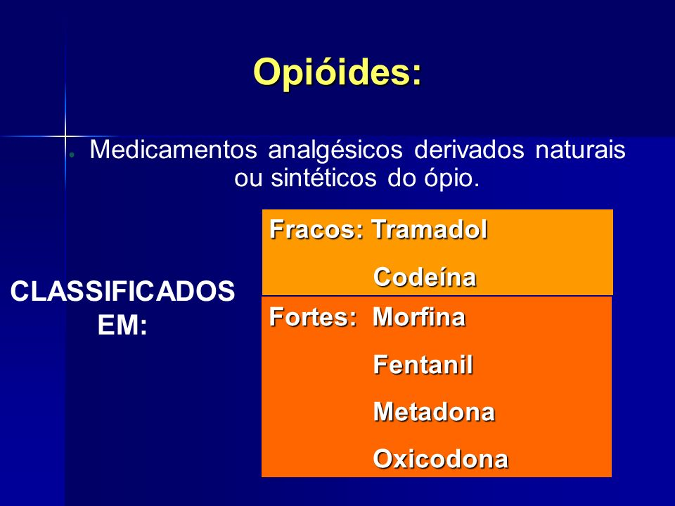 Medicamentos analgésicos derivados naturais ou sintéticos do ópio.