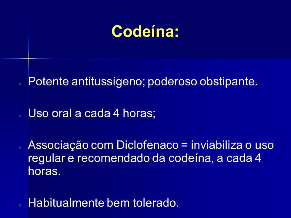 Codeína: Potente antitussígeno; poderoso obstipante.