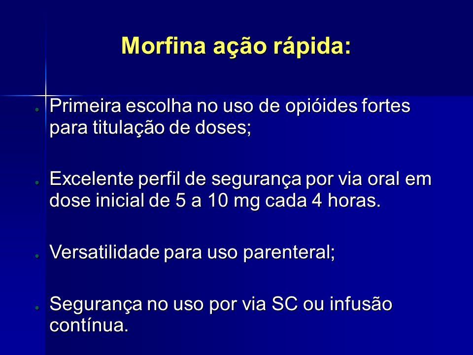 Morfina ação rápida: Primeira escolha no uso de opióides fortes para titulação de doses;