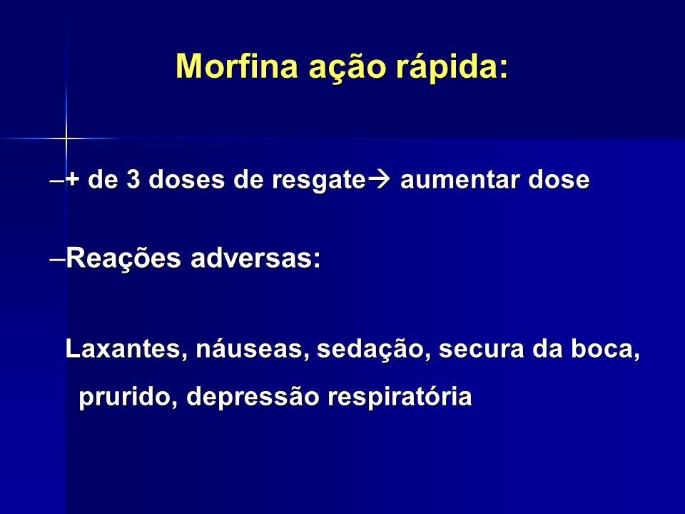 Morfina ação rápida: Reações adversas: