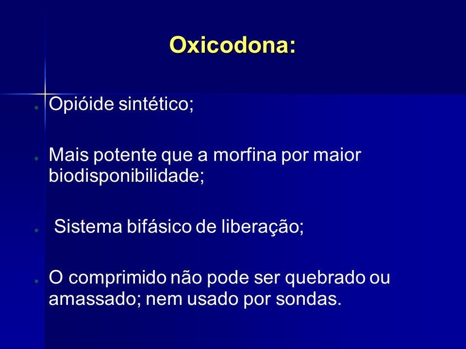 Oxicodona: Opióide sintético;