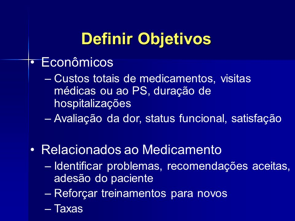 Definir Objetivos Econômicos Relacionados ao Medicamento