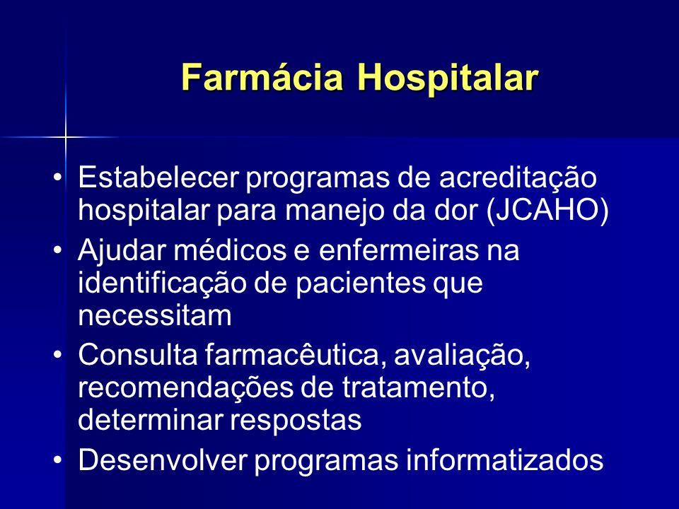 Farmácia Hospitalar Estabelecer programas de acreditação hospitalar para manejo da dor (JCAHO)