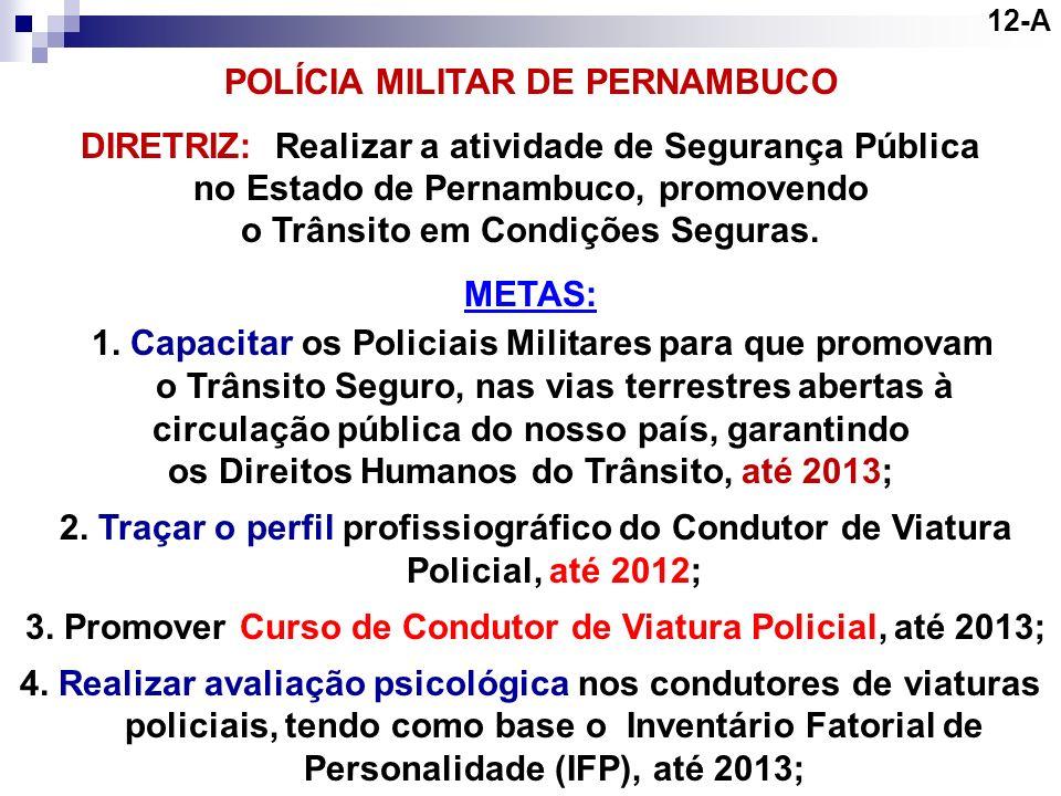 12-A POLÍCIA MILITAR DE PERNAMBUCO. DIRETRIZ: Realizar a atividade de Segurança Pública. no Estado de Pernambuco, promovendo.