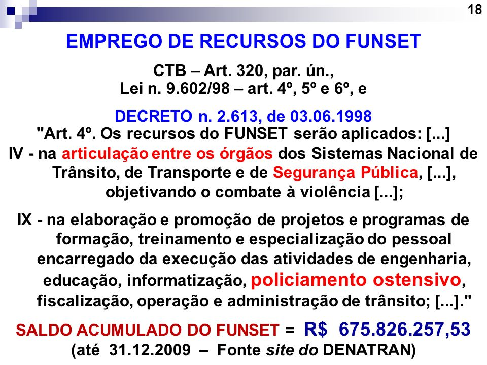 EMPREGO DE RECURSOS DO FUNSET