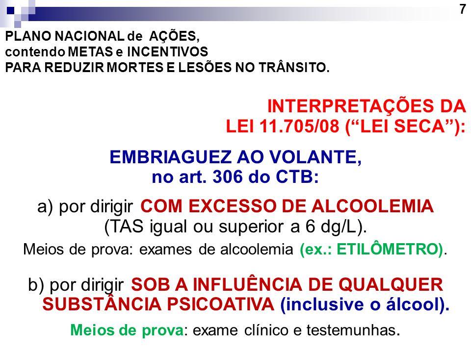 EMBRIAGUEZ AO VOLANTE, no art. 306 do CTB: