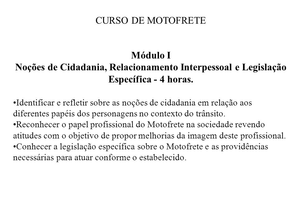CURSO DE MOTOFRETE Módulo I