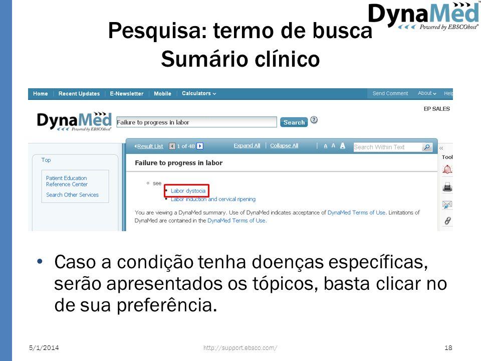 Pesquisa: termo de busca Sumário clínico