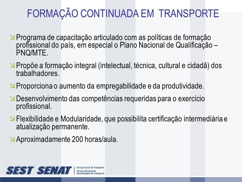 FORMAÇÃO CONTINUADA EM TRANSPORTE
