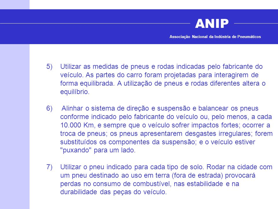 ANIP Associação Nacional da Indústria de Pneumáticos.