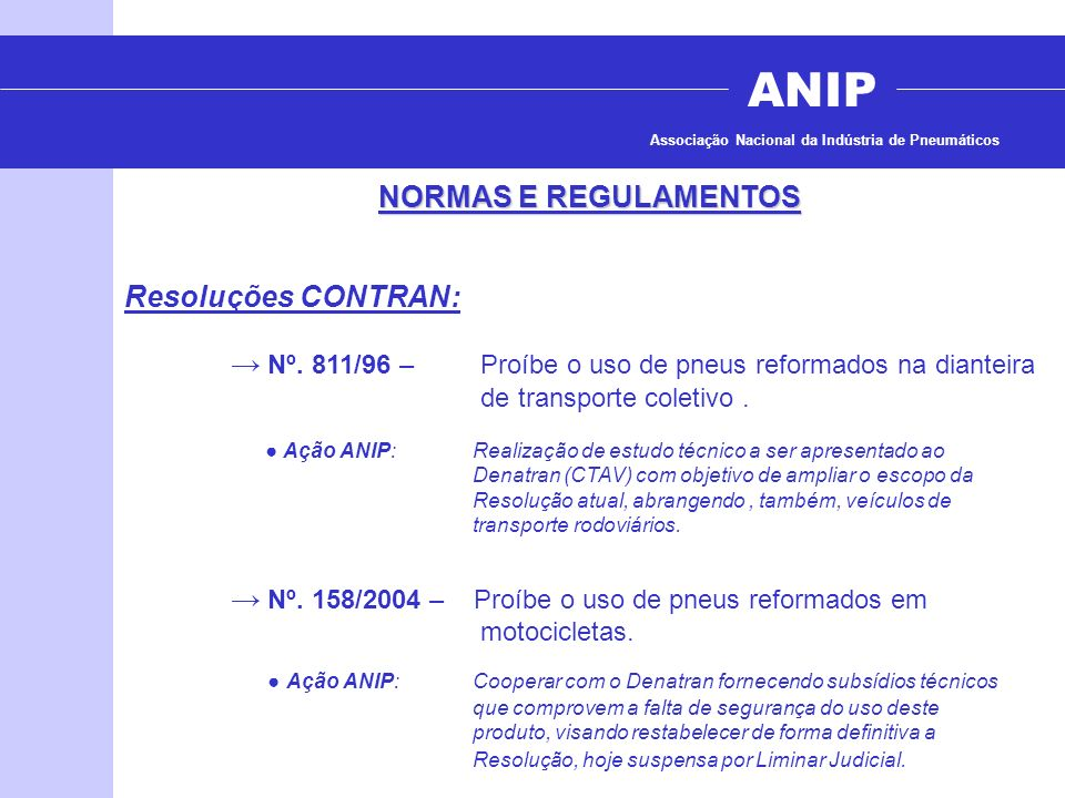 ANIP NORMAS E REGULAMENTOS Resoluções CONTRAN: