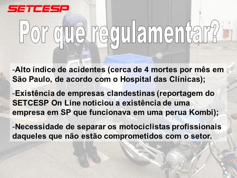 Por que regulamentar Alto índice de acidentes (cerca de 4 mortes por mês em São Paulo, de acordo com o Hospital das Clínicas);
