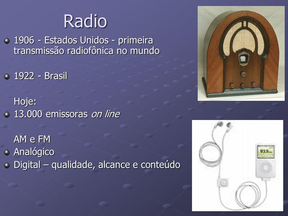 Radio 1906 - Estados Unidos - primeira transmissão radiofônica no mundo. 1922 - Brasil. Hoje: 13.000 emissoras on line.