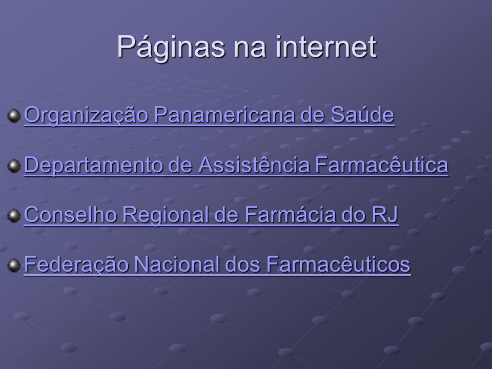 Páginas na internet Organização Panamericana de Saúde