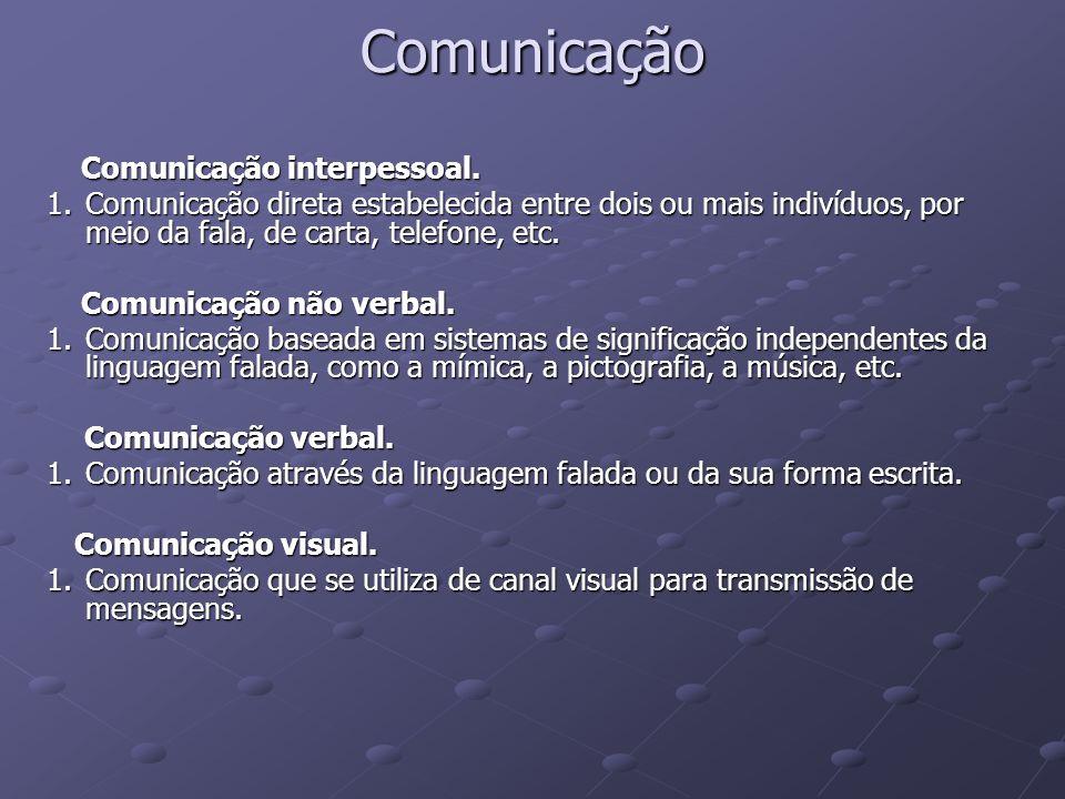Comunicação Comunicação interpessoal.