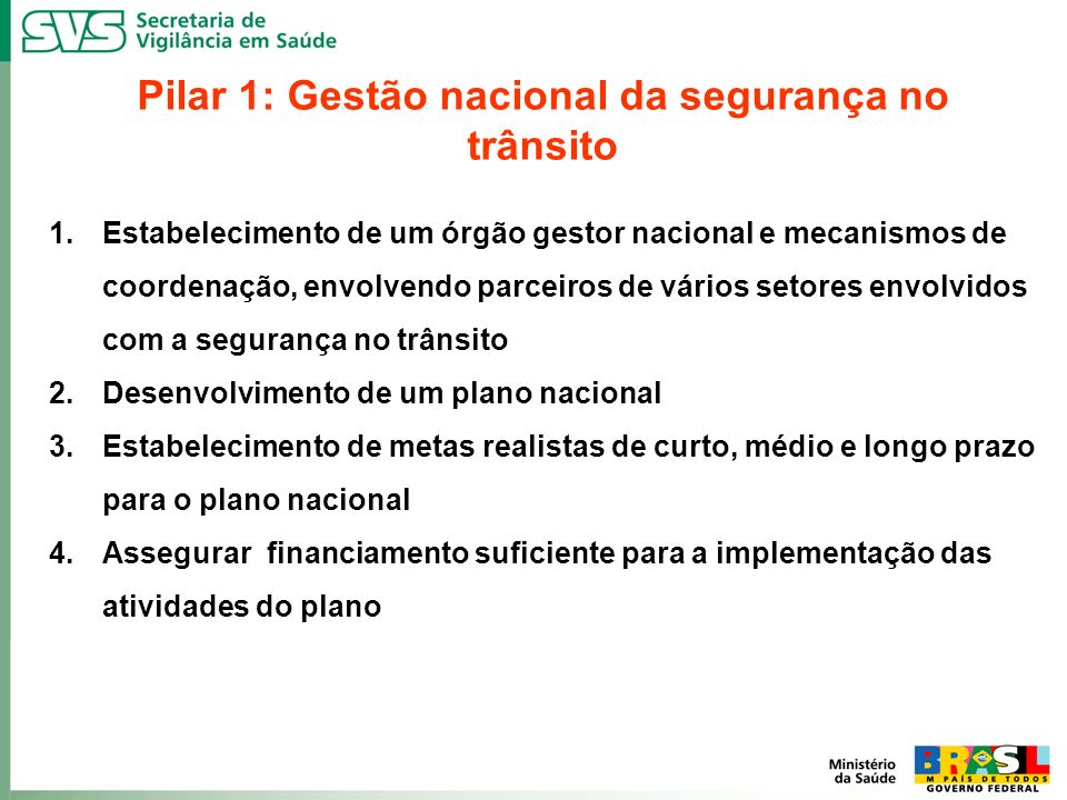 Pilar 1: Gestão nacional da segurança no trânsito