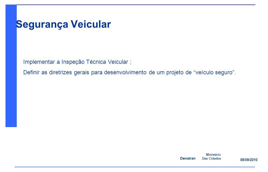 Segurança Veicular Implementar a Inspeção Técnica Veicular ;
