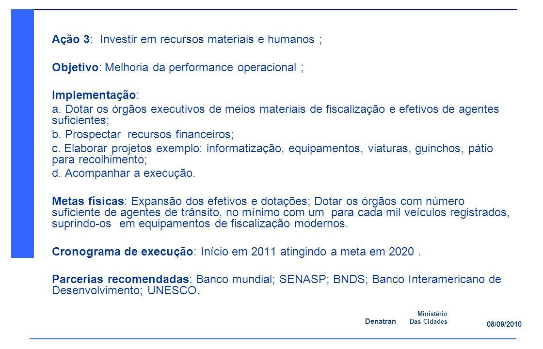 Ação 3: Investir em recursos materiais e humanos ;