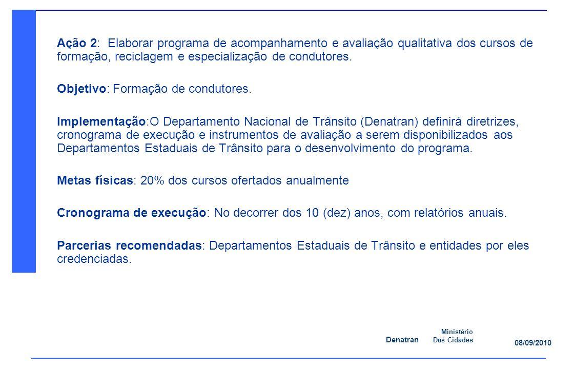 Ação 2: Elaborar programa de acompanhamento e avaliação qualitativa dos cursos de formação, reciclagem e especialização de condutores.