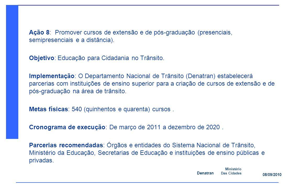 Ação 8: Promover cursos de extensão e de pós-graduação (presenciais, semipresenciais e a distância).