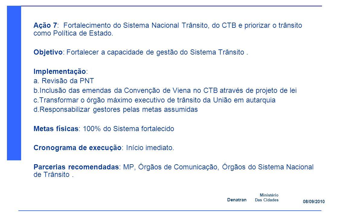 Ação 7: Fortalecimento do Sistema Nacional Trânsito, do CTB e priorizar o trânsito como Política de Estado.
