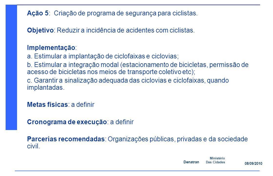 Ação 5: Criação de programa de segurança para ciclistas.