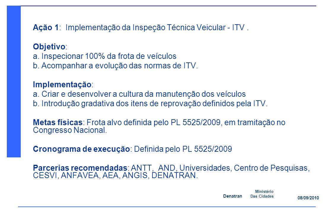 Ação 1: Implementação da Inspeção Técnica Veicular - ITV .