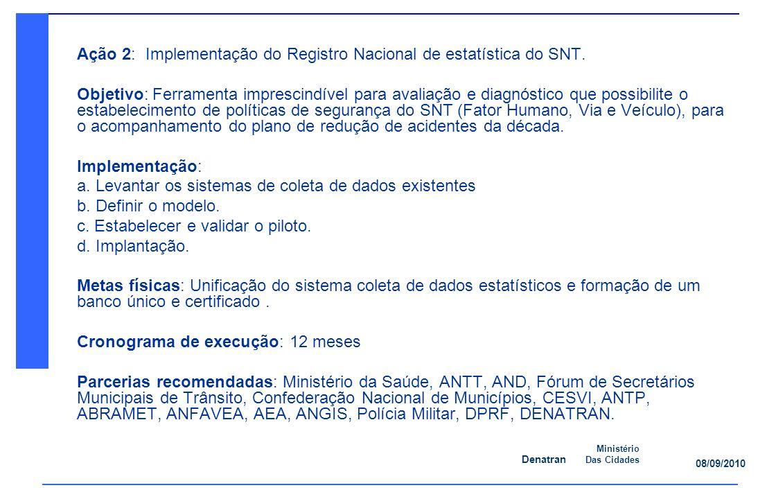 Ação 2: Implementação do Registro Nacional de estatística do SNT.