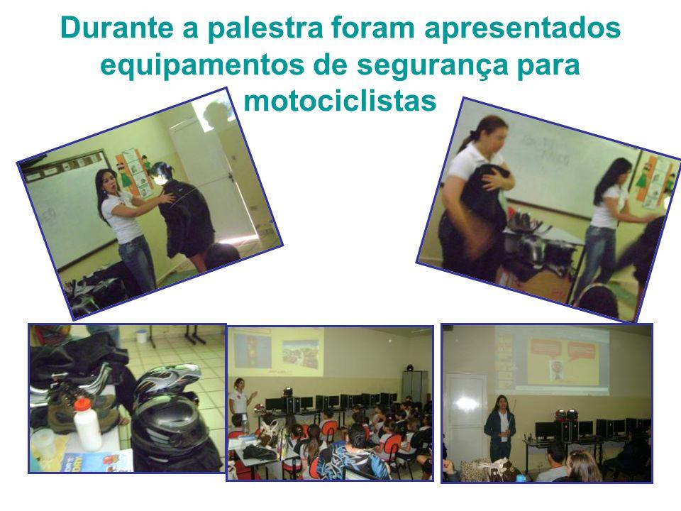 Durante a palestra foram apresentados equipamentos de segurança para motociclistas
