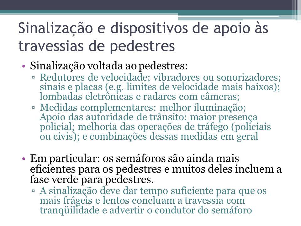 Sinalização e dispositivos de apoio às travessias de pedestres
