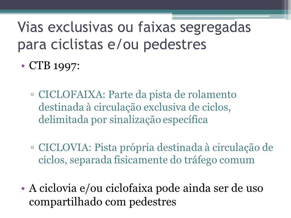 Vias exclusivas ou faixas segregadas para ciclistas e/ou pedestres