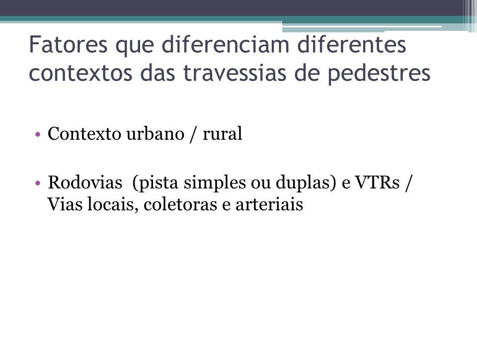 Fatores que diferenciam diferentes contextos das travessias de pedestres