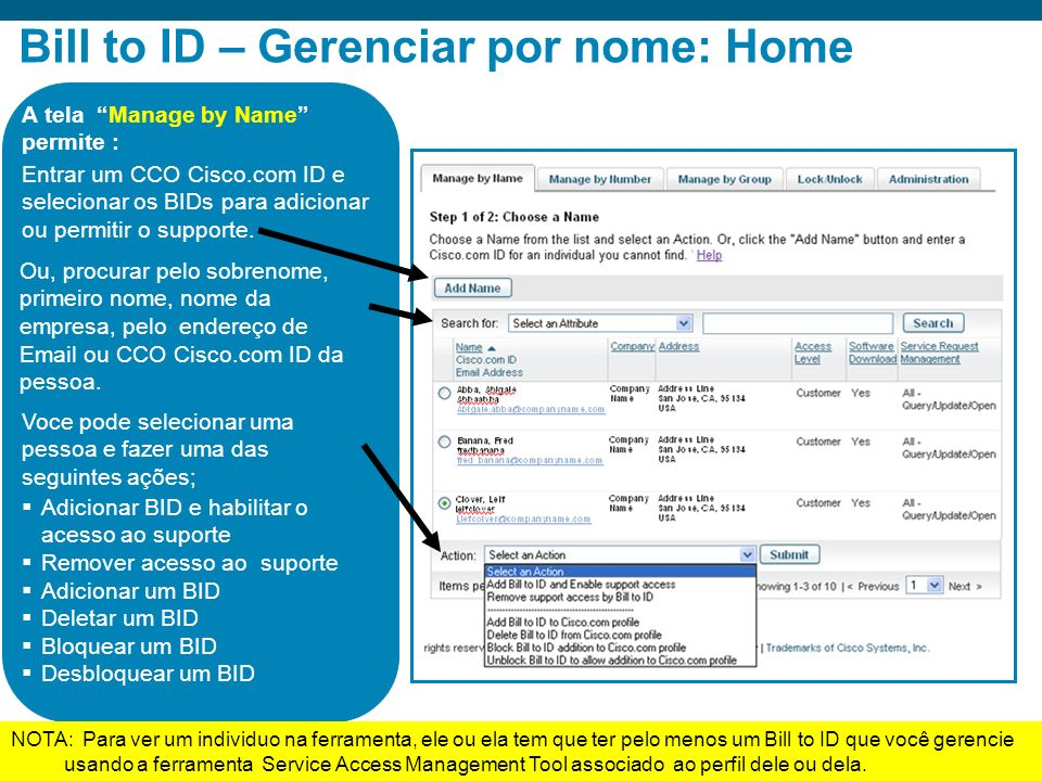 Bill to ID – Gerenciar por nome: Home