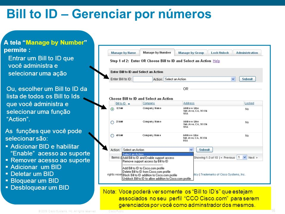 Bill to ID – Gerenciar por números