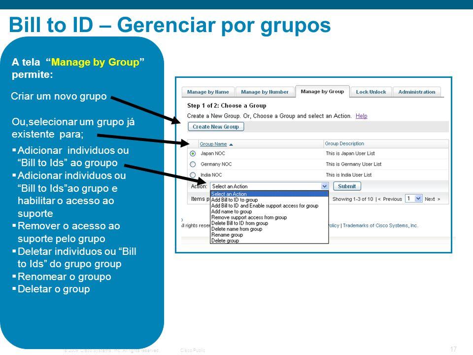Bill to ID – Gerenciar por grupos