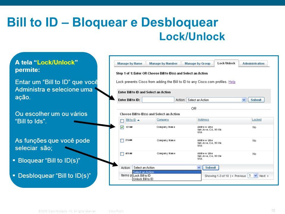 Bill to ID – Bloquear e Desbloquear Lock/Unlock