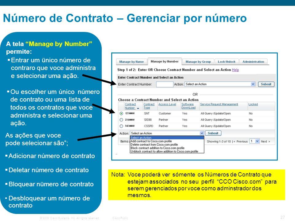 Número de Contrato – Gerenciar por número