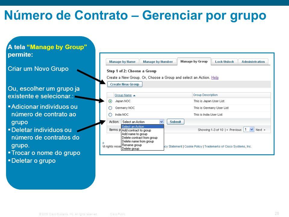 Número de Contrato – Gerenciar por grupo